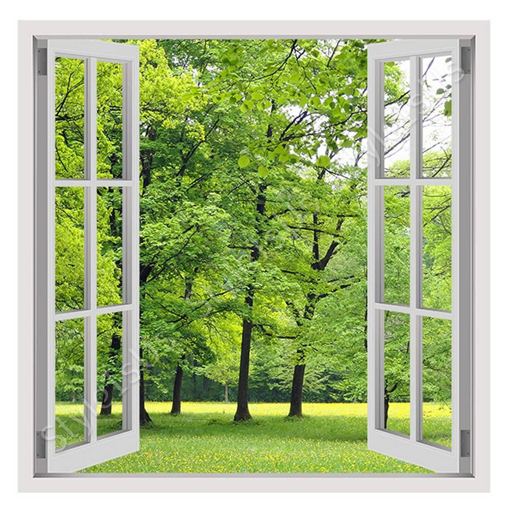 Fake 3D Window Green Nature | Canvas, Posters, Prints & Stickers - StyleIsUS.com