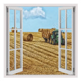 Fake 3D Window Hay Bales on Farm Field | Canvas, Posters, Prints & Stickers - StyleIsUS.com
