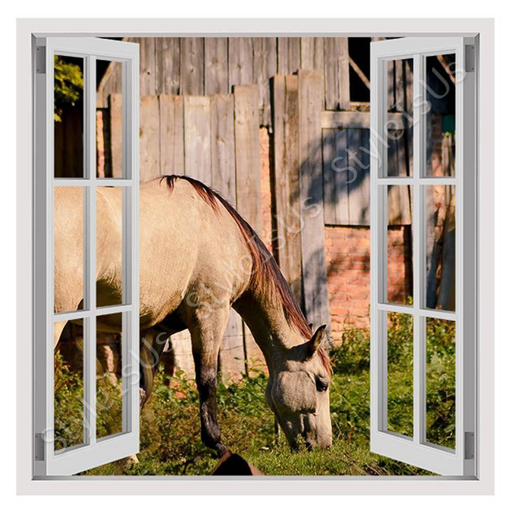 Fake 3D Window Horse Grazing Farm | Canvas, Posters, Prints & Stickers - StyleIsUS.com