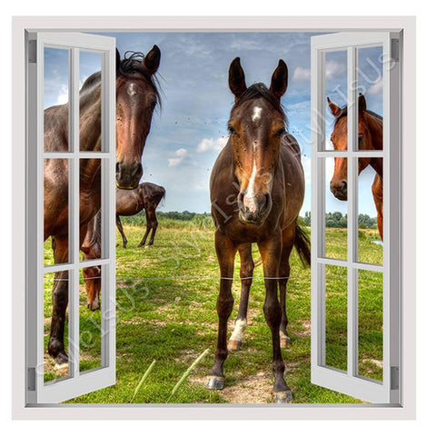 Fake 3D Window Horses On the Field | Canvas, Posters, Prints & Stickers - StyleIsUS.com
