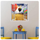 Fake 3D Window Hot Air Balloons | Canvas, Posters, Prints & Stickers - StyleIsUS.com