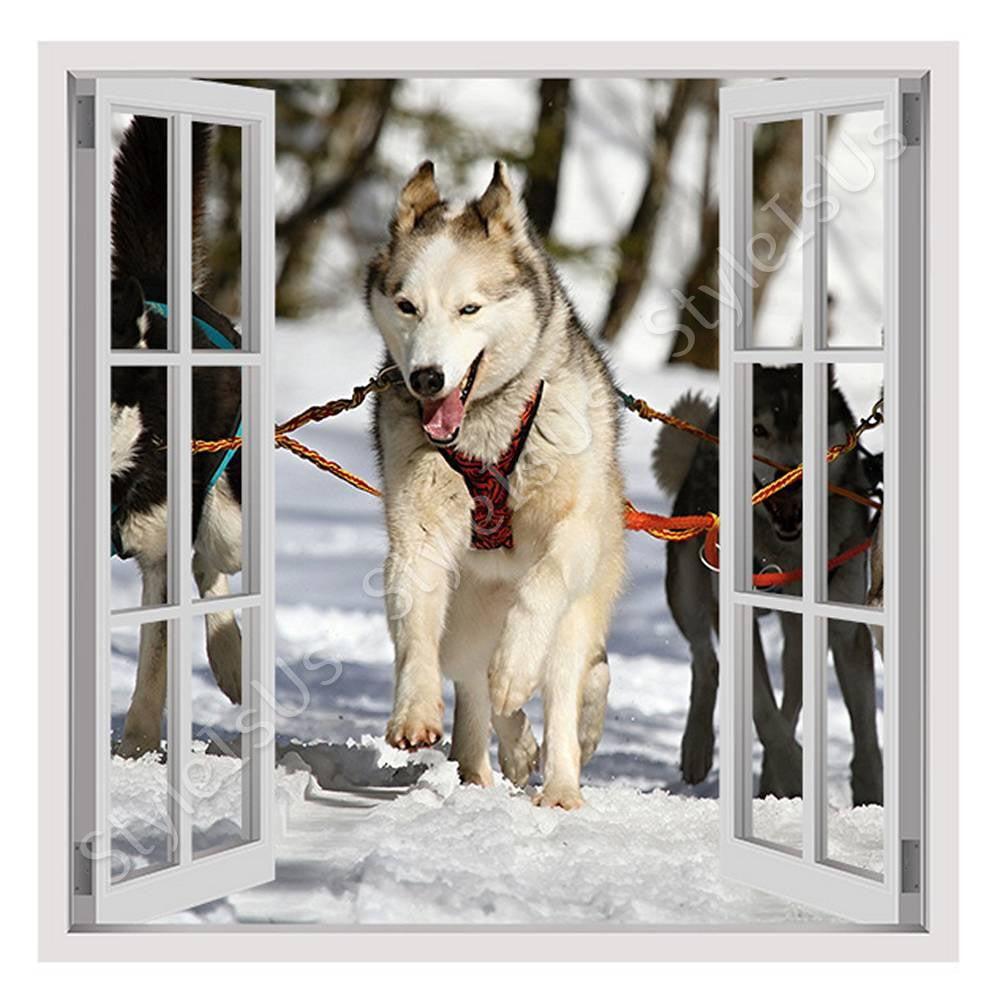 Fake 3D Window Huskies in the Snow | Canvas, Posters, Prints & Stickers - StyleIsUS.com