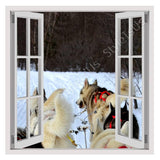 Fake 3D Window Huskies with a Sled | Canvas, Posters, Prints & Stickers - StyleIsUS.com