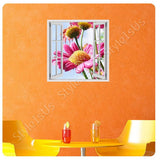Fake 3D Window Marguerite Flower | Canvas, Posters, Prints & Stickers - StyleIsUS.com