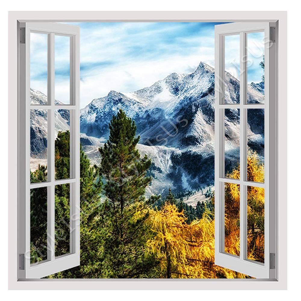 Fake 3D Window Mountains View in Trees | Canvas, Posters, Prints & Stickers - StyleIsUS.com