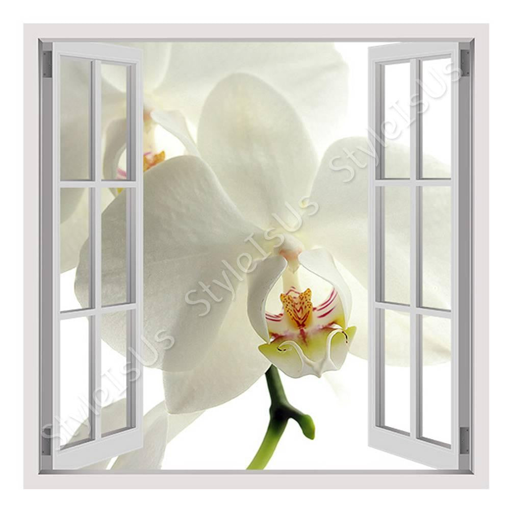 Fake 3D Window Orchid Flower | Canvas, Posters, Prints & Stickers - StyleIsUS.com