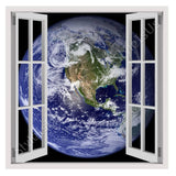 Fake 3D Window Planet Earth | Canvas, Posters, Prints & Stickers - StyleIsUS.com