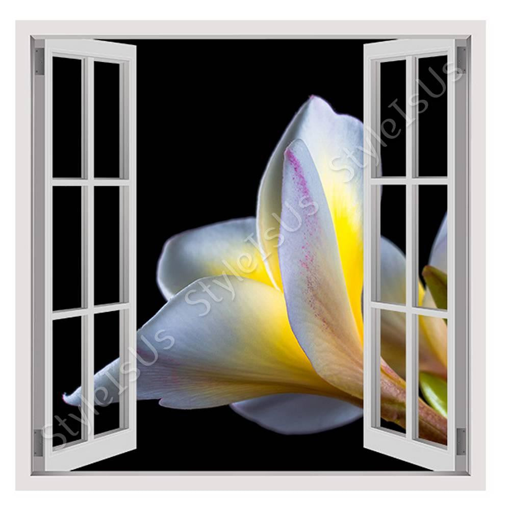 Fake 3D Window Plumeria Flower | Canvas, Posters, Prints & Stickers - StyleIsUS.com