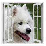 Fake 3D Window Samoyed Furry Dog | Canvas, Posters, Prints & Stickers - StyleIsUS.com