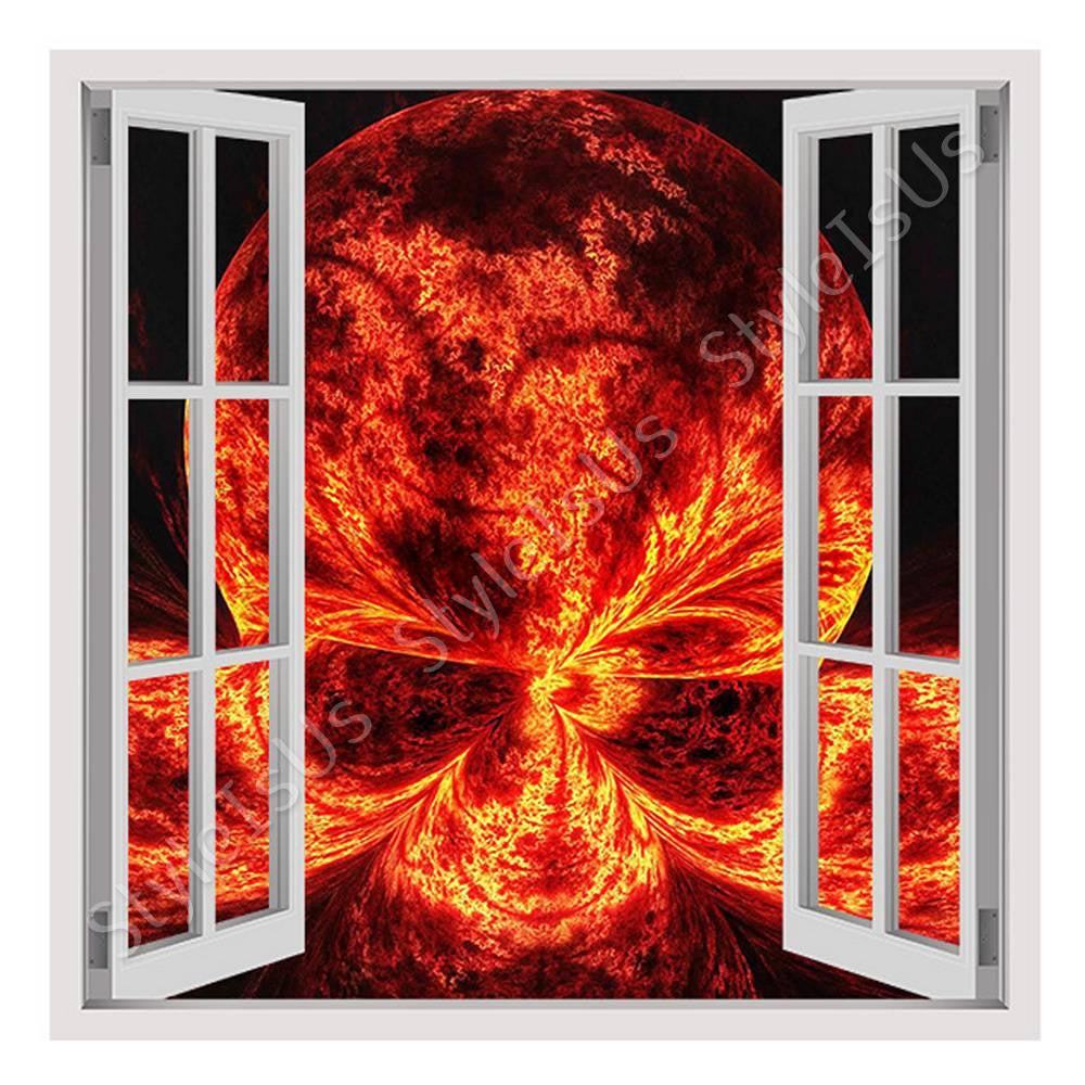 Fake 3D Window Skull on Fire | Canvas, Posters, Prints & Stickers - StyleIsUS.com