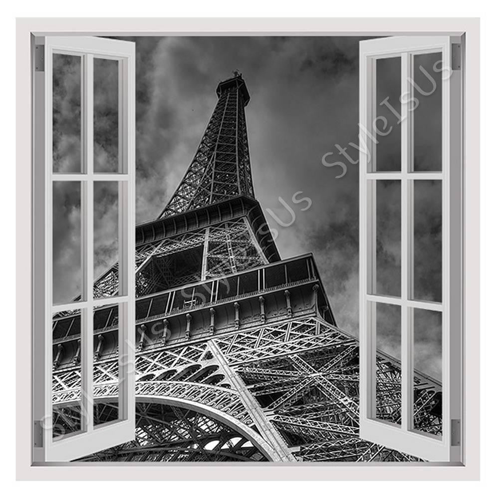 Fake 3D Window The Eiffel Tower Paris | Canvas, Posters, Prints & Stickers - StyleIsUS.com
