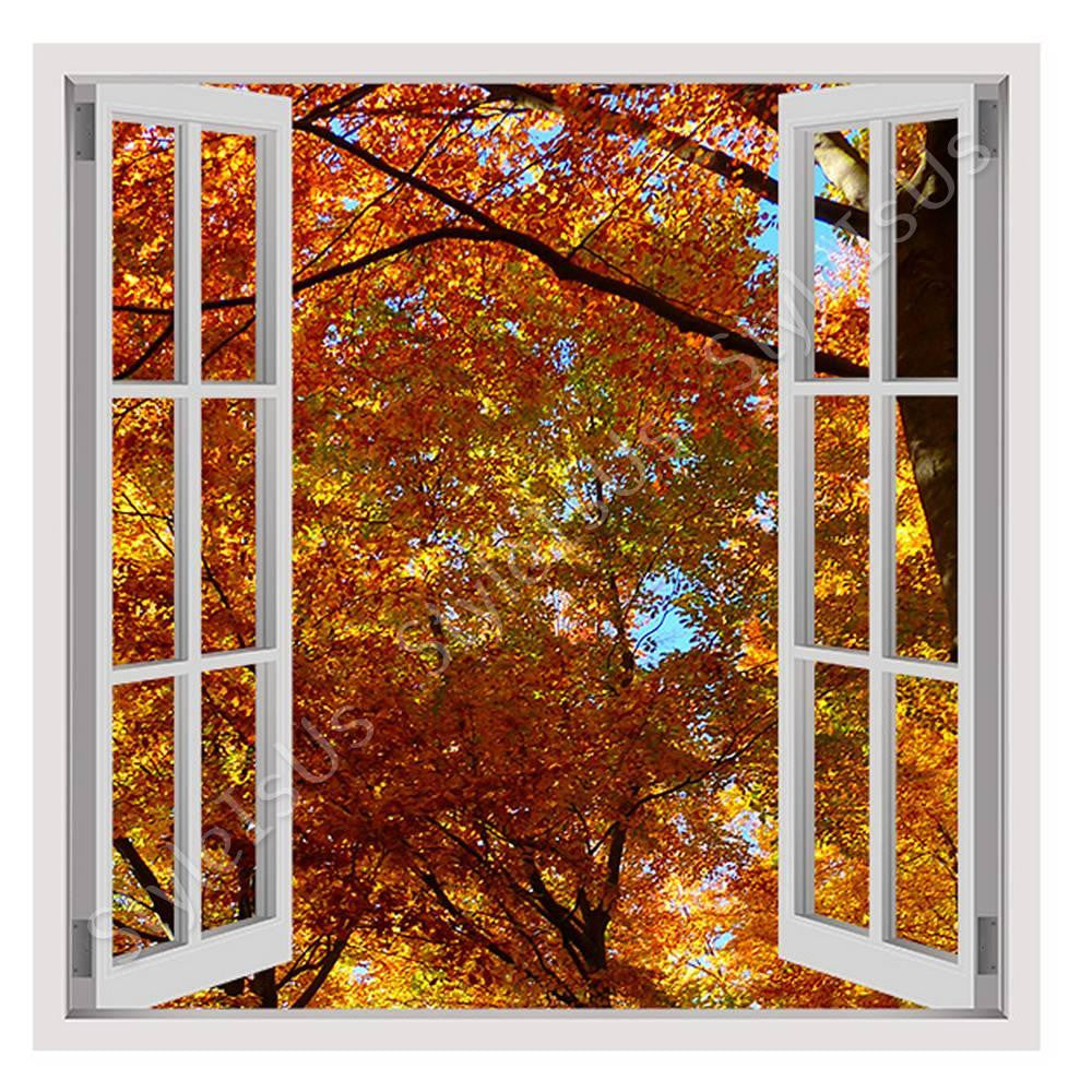 Fake 3D Window The Forest in Autumn | Canvas, Posters, Prints & Stickers - StyleIsUS.com