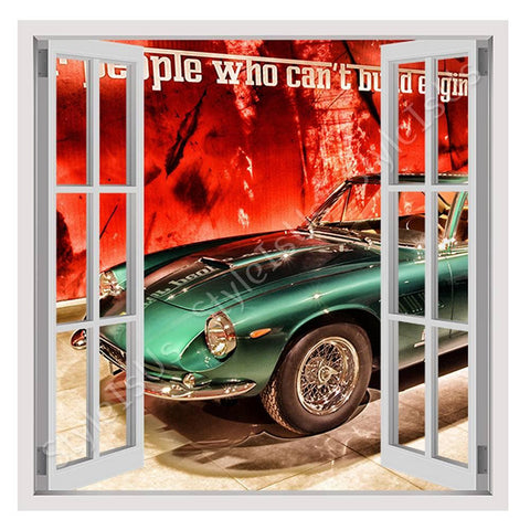 Fake 3D Window Vintage Ferrari 1965 | Canvas, Posters, Prints & Stickers - StyleIsUS.com