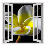 Fake 3D Window White and Yellow Flower | Canvas, Posters, Prints & Stickers - StyleIsUS.com