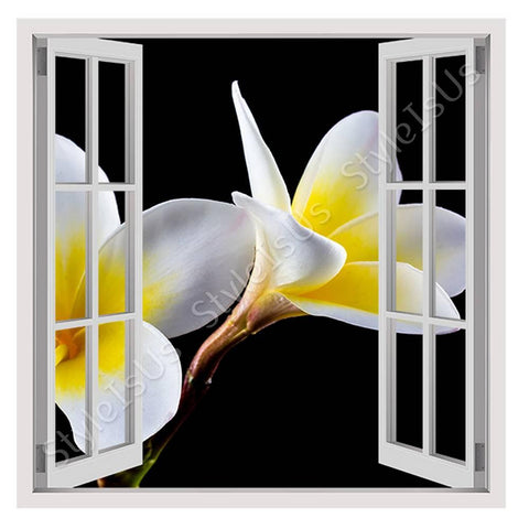 Fake 3D Window White Plumeria Flowers | Canvas, Posters, Prints & Stickers - StyleIsUS.com
