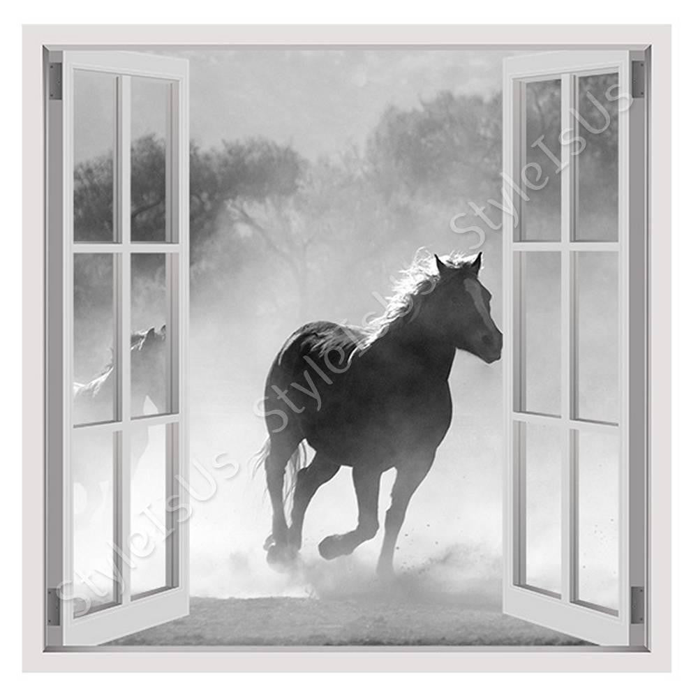 Fake 3D Window Wild Horse running | Canvas, Posters, Prints & Stickers - StyleIsUS.com