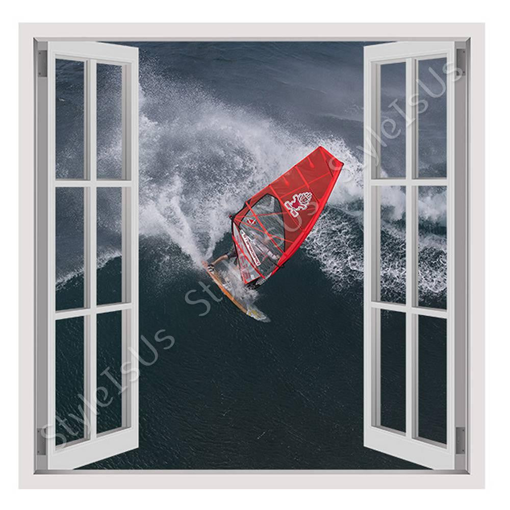 Fake 3D Window Wind Surfing | Canvas, Posters, Prints & Stickers - StyleIsUS.com