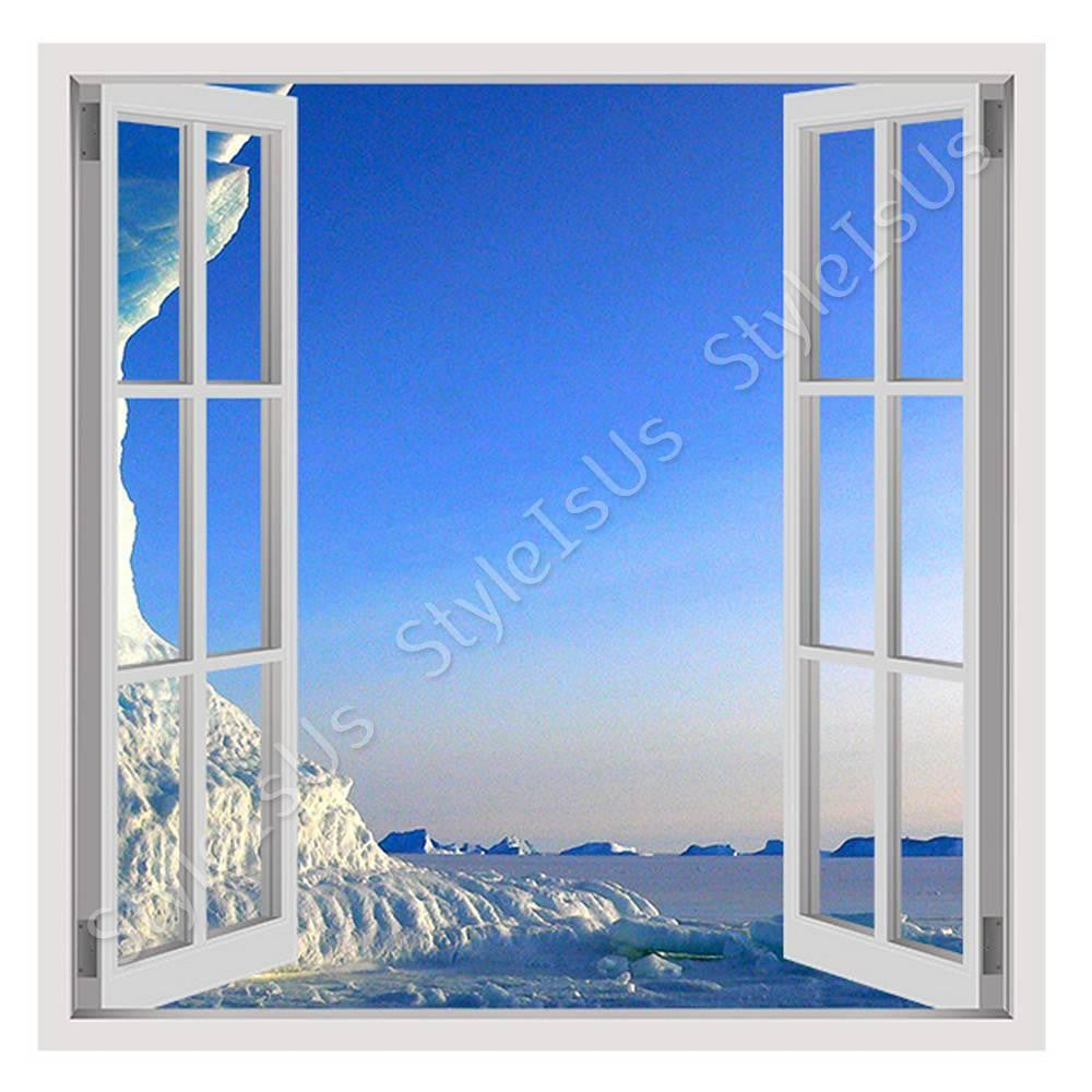 Fake 3D Window Icebergs in the Antarctice | Canvas, Posters, Prints & Stickers - StyleIsUS.com