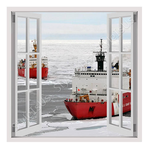 Fake 3D Window Ice Breakers Ships | Canvas, Posters, Prints & Stickers - StyleIsUS.com
