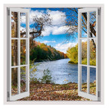 Fake 3D Window Lake in the Autumn | Canvas, Posters, Prints & Stickers - StyleIsUS.com