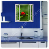 Fake 3D Window Ladybug on a leaf | Canvas, Posters, Prints & Stickers - StyleIsUS.com