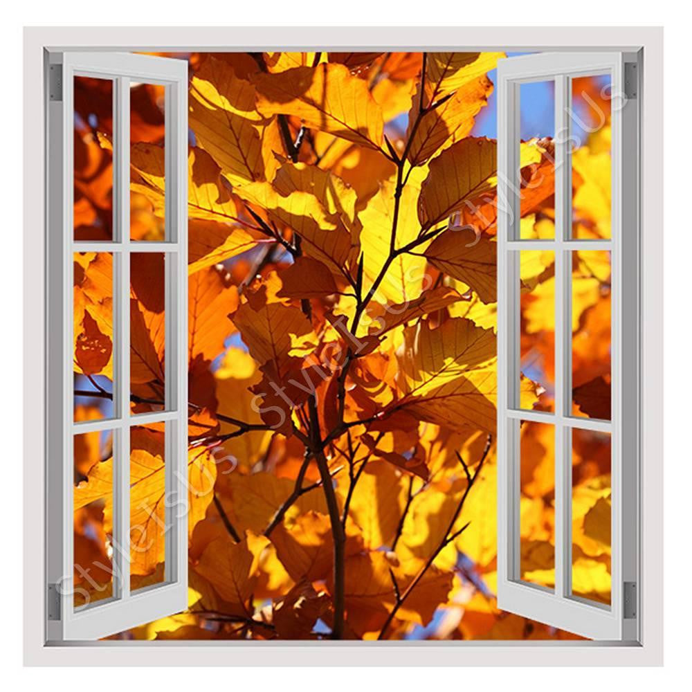 Fake 3D Window Range of Orange leaves | Canvas, Posters, Prints & Stickers - StyleIsUS.com