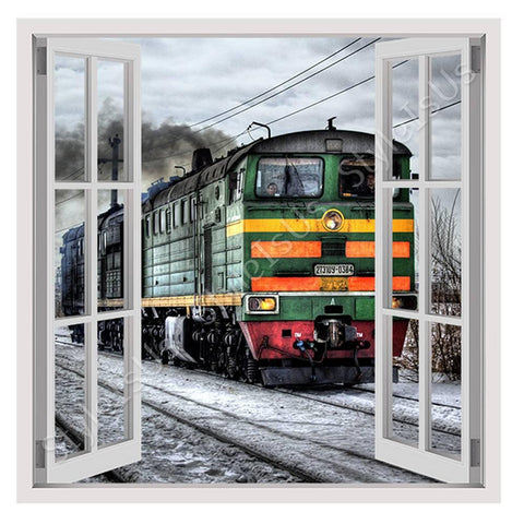Fake 3D Window Russian Train | Canvas, Posters, Prints & Stickers - StyleIsUS.com