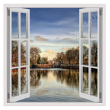 Fake 3D Window Lake in the winter | Canvas, Posters, Prints & Stickers - StyleIsUS.com