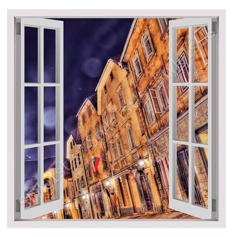 Fake 3D Window Buildings Urban Life | Canvas, Posters, Prints & Stickers - StyleIsUS.com