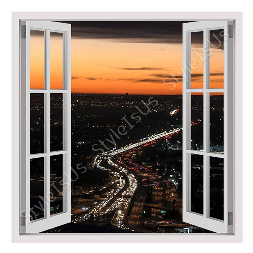 Fake 3D Window City Lights in the Sunset | Canvas, Posters, Prints & Stickers - StyleIsUS.com