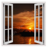 Fake 3D Window Silhouette of a boat | Canvas, Posters, Prints & Stickers - StyleIsUS.com