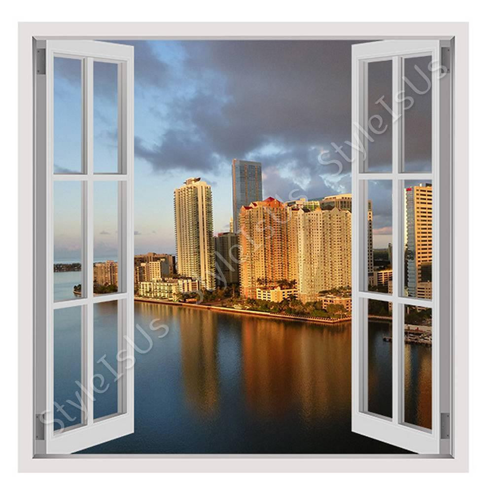 Fake 3D Window Miami Florida Cityscape | Canvas, Posters, Prints & Stickers - StyleIsUS.com