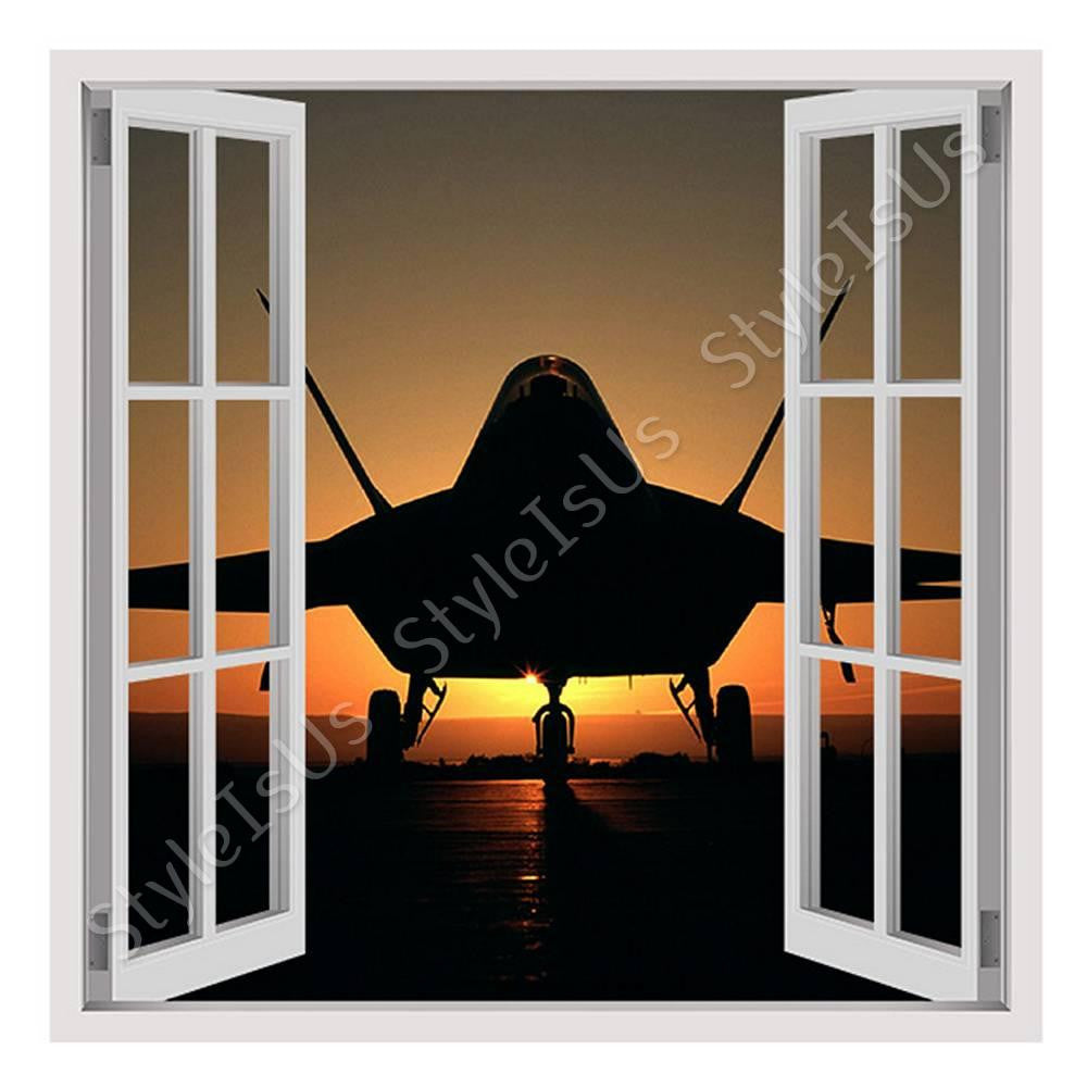 Fake 3D Window Jet Silhouette in the sunset | Canvas, Posters, Prints & Stickers - StyleIsUS.com