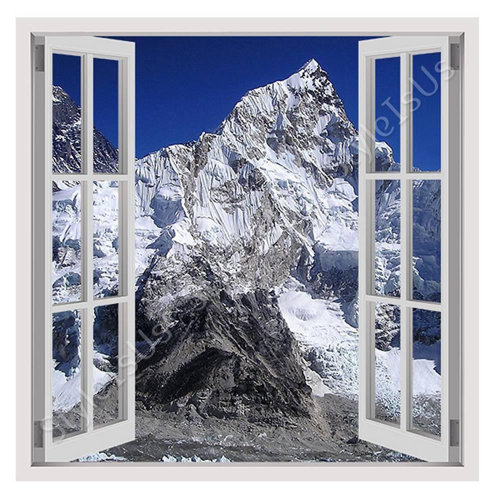 Fake 3D Window Mount Everest | Canvas, Posters, Prints & Stickers - StyleIsUS.com