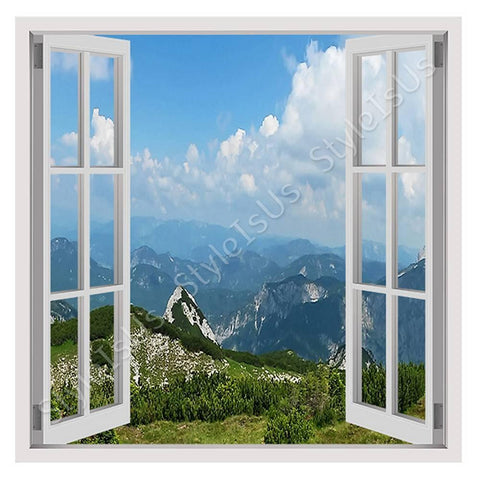 Fake 3D Window Alps Mountains | Canvas, Posters, Prints & Stickers - StyleIsUS.com