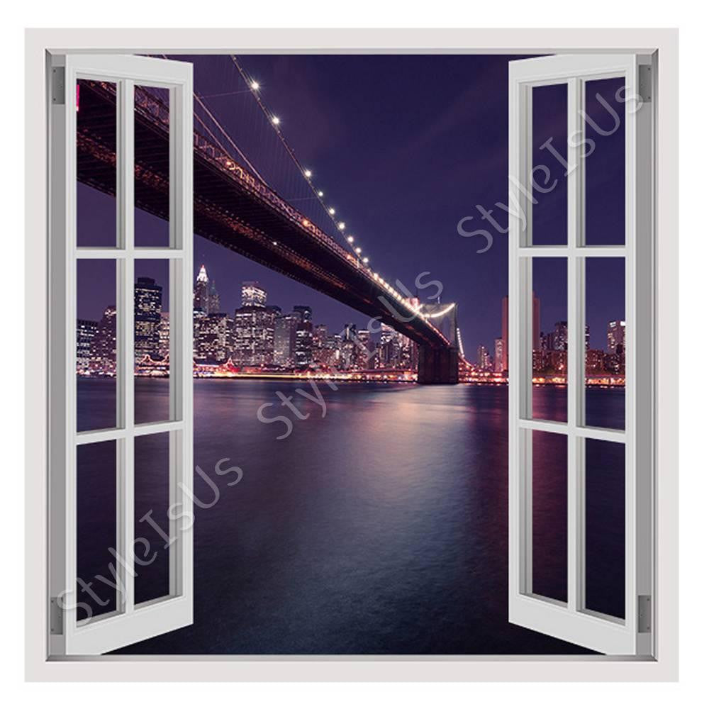 Fake 3D Window Brooklyn Bridge NYC | Canvas, Posters, Prints & Stickers - StyleIsUS.com