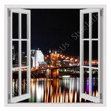 Fake 3D Window NYC Skyline at Night | Canvas, Posters, Prints & Stickers - StyleIsUS.com