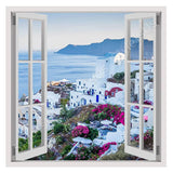 Fake 3D Window Santorini Greece Sunset | Canvas, Posters, Prints & Stickers - StyleIsUS.com