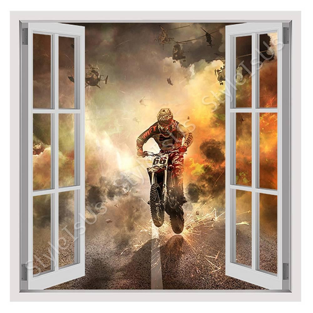 Fake 3D Window Motorcycle Extreme Sports | Canvas, Posters, Prints & Stickers - StyleIsUS.com
