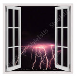 Fake 3D Window Dangerous Bolt Lightning | Canvas, Posters, Prints & Stickers - StyleIsUS.com