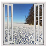Fake 3D Window Winter Snow Icy Forest | Canvas, Posters, Prints & Stickers - StyleIsUS.com