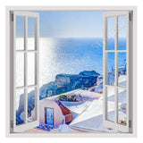 Fake 3D Window Santorini Summer Vacation | Canvas, Posters, Prints & Stickers - StyleIsUS.com