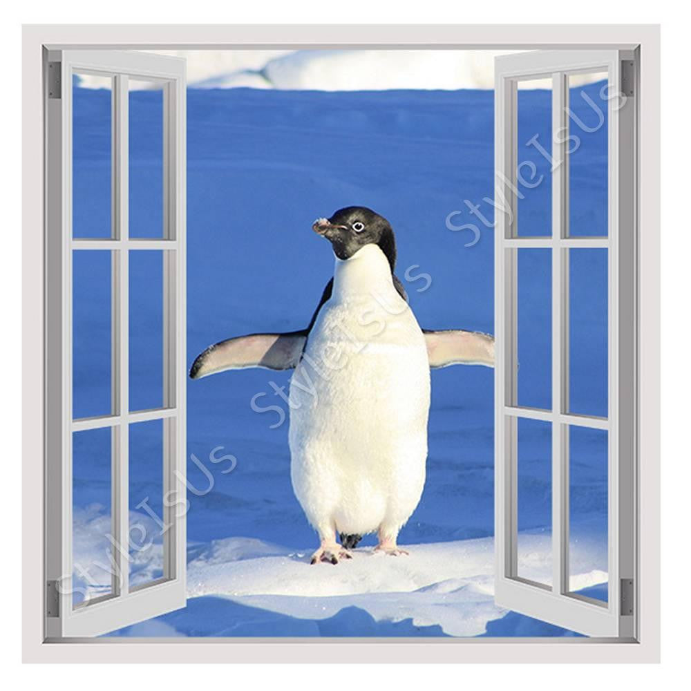 Fake 3D Window Penguin on the Ice | Canvas, Posters, Prints & Stickers - StyleIsUS.com