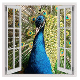 Fake 3D Window Peacock Bird in the Spring | Canvas, Posters, Prints & Stickers - StyleIsUS.com