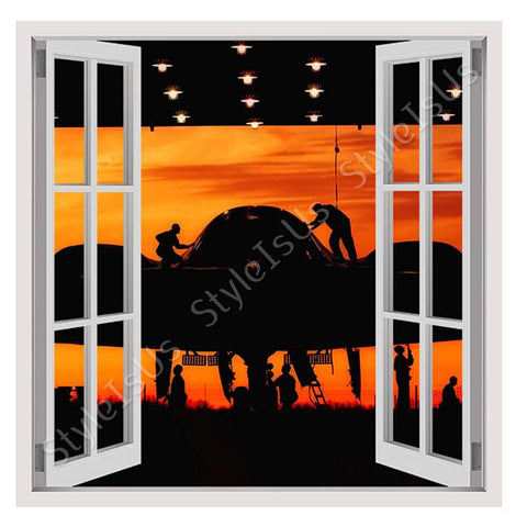 Fake 3D Window Planes Silhoette on sunset | Canvas, Posters, Prints & Stickers - StyleIsUS.com