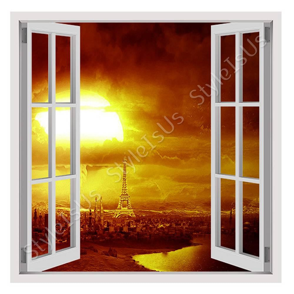 Fake 3D Window Eiffel tower mosque | Canvas, Posters, Prints & Stickers - StyleIsUS.com