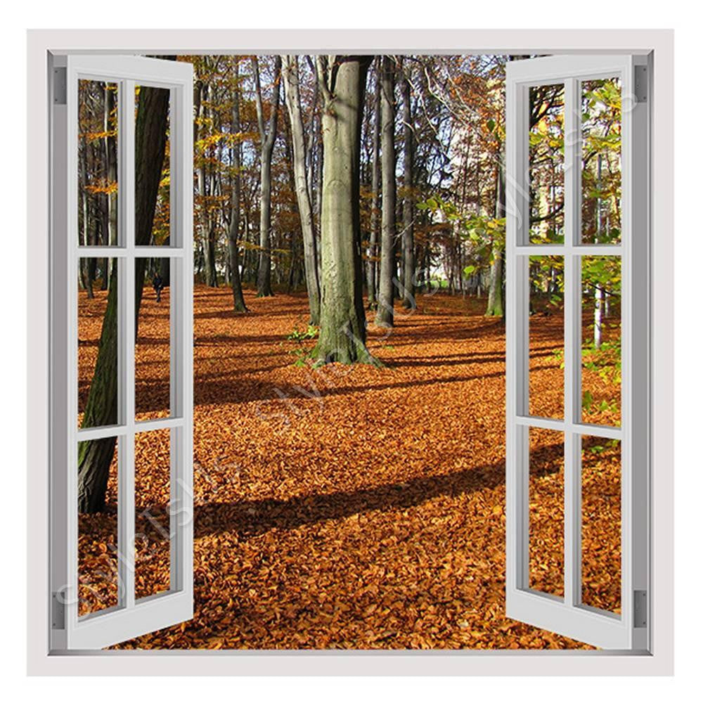 Fake 3D Window Fallen leaves in Poland | Canvas, Posters, Prints & Stickers - StyleIsUS.com