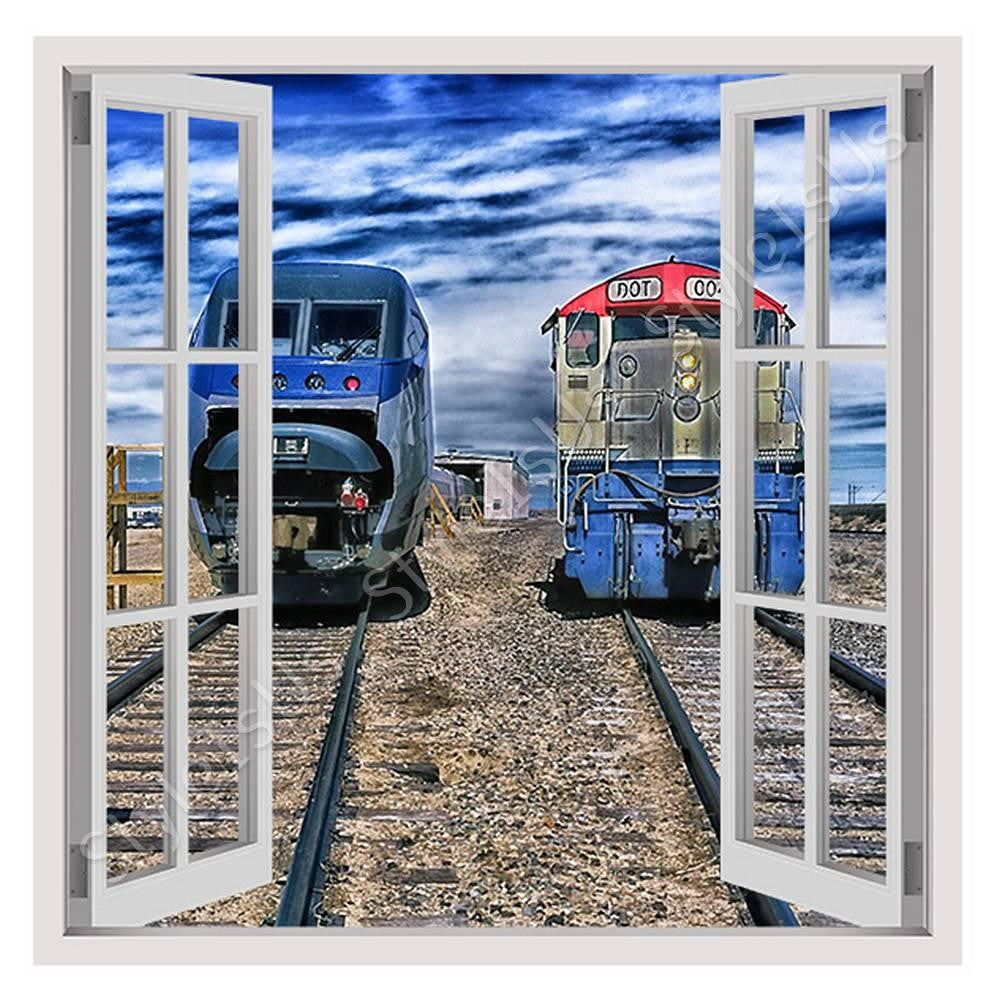 Fake 3D Window Trains passing in railroad | Canvas, Posters, Prints & Stickers - StyleIsUS.com