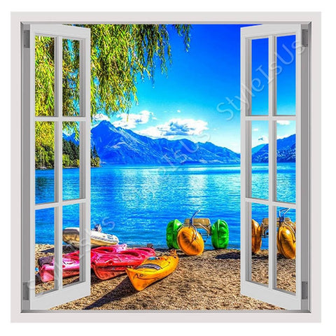 Fake 3D Window Beach with mountains view | Canvas, Posters, Prints & Stickers - StyleIsUS.com