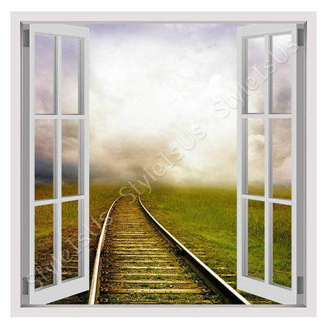 Fake 3D Window Train road in the clouds | Canvas, Posters, Prints & Stickers - StyleIsUS.com